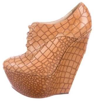 Casadei Embossed Leather Wedge Booties