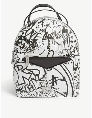 MICHAEL Michael Kors Michael Kors Optic White Graffiti Print Jessa Small Leather Cross Body Backpack