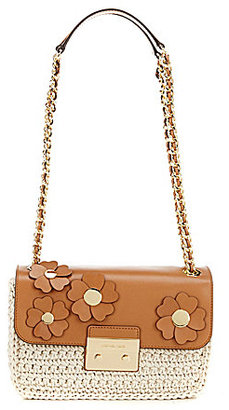 MICHAEL Michael Kors Sloan Flower-Appliqued Crochet Large Chain Cross-Body Bag $328 thestylecure.com