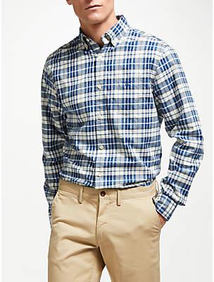 Gant Winter Twill Melange Plaid Shirt, Blue