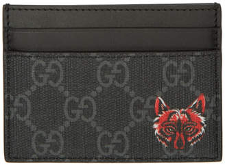 Gucci Black Fox GG Card Holder
