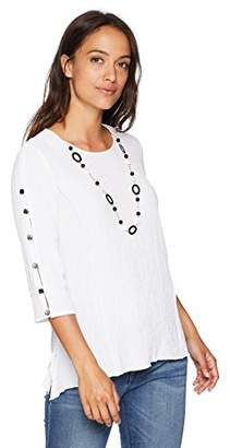 Alfred Dunner Women's Petite Tunic Top with Necklace