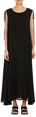 Yohji Yamamoto Women's Lace-Up-Shoulder Maxi Dress $1,670 thestylecure.com