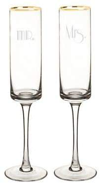 Cathy's Concepts Mr. and Mrs. 8 oz. Gatsby Gold Rim Contemporary Champagne Flutes