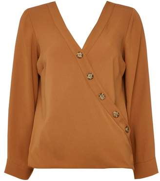 Wallis PETITE Rust Button Wrap Top