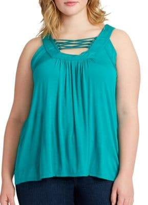 Jessica Simpson Plus Lace-Up Trapeze Tank