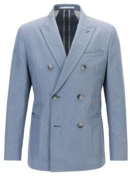 BOSS Hugo Pure Cotton Double-Breasted Jacket, Slim Fit North 44R Open Grey