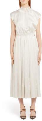 Fendi Pinstripe Drawcord Detail Silk Midi Dress
