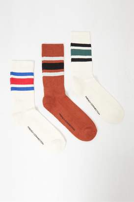 French Connection 3 Pack Sport Stripe Socks