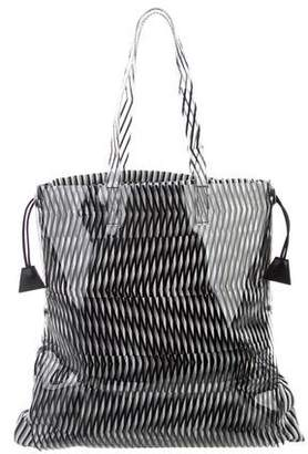 Pleats Please Issey Miyake PVC-Trimmed Canvas Tote