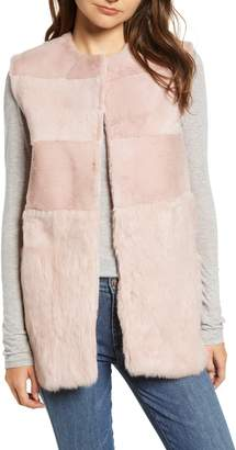 Love Token Collarless Genuine Rabbit Fur Vest