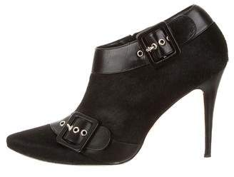 Manolo Blahnik Pointed-Toe Buckle Booties
