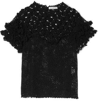 Ulla Johnson Mirella Crocheted Pima Cotton Top - Black