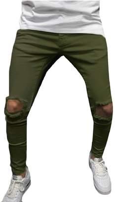 xiaohuoban Men Knees Ripped Stretch Destroyed Slim Fit Skinny Jeans Denim Pants 18 M