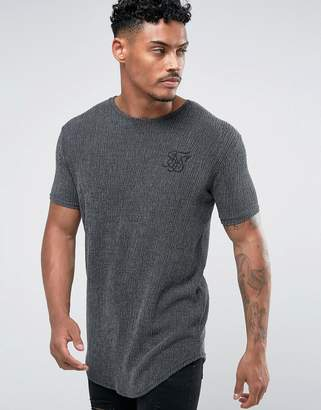 SikSilk Textured Muscle T-Shirt In Gray