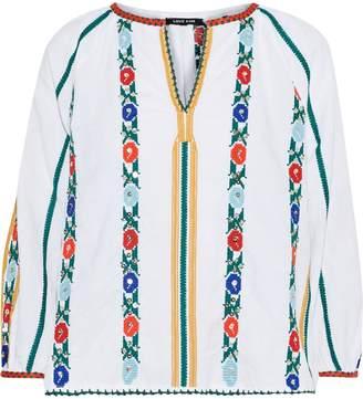 Love Sam Jillian Embellished Cotton And Linen-blend Blouse