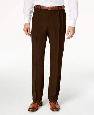 Haggar Men Eclo Stria Classic Fit Pleated Hidden Expandable Waistband Dress Pants