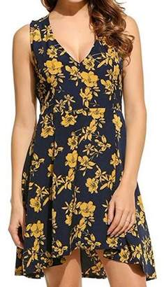 Lintimes Women's Short Sleeveless Casual Floral Dress With Deep V-Neck Yellow Size:M
