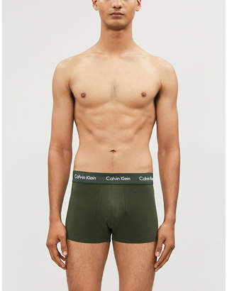 Calvin Klein Solid classic-fit stretch-cotton trunks pack of three
