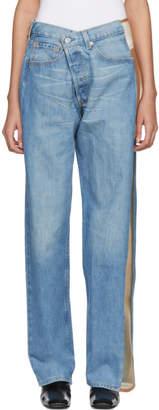 Bless Blue Mesh-Trimmed Jeans
