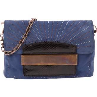Jimmy Choo Blue Suede Clutch Bag
