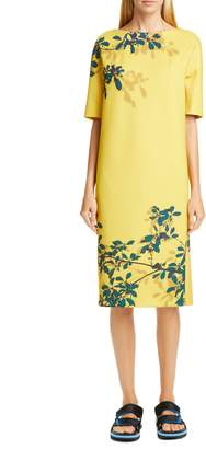 Dries Van Noten Dorine Leaf Print Scuba Dress