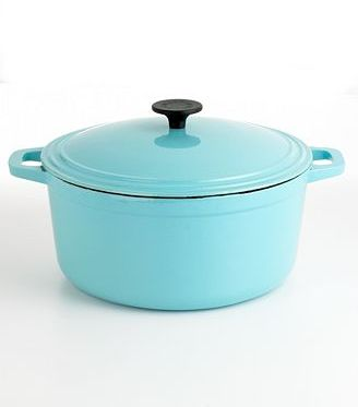 Martha Stewart Collection Blue Enameled Cast Iron Round Pot, 7 Qt.