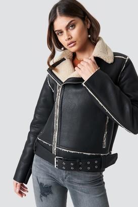 Luisa Lion X Na Kd Belted Biker Jacket Black