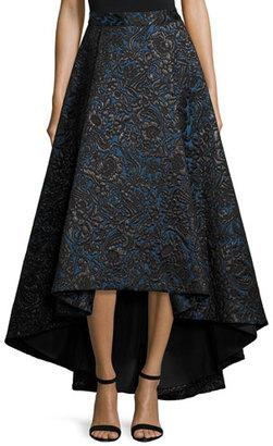 Alice + Olivia Floral Jacquard High-Low Skirt, Black/Blue $795 thestylecure.com