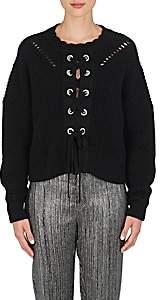 Isabel Marant WOMEN'S LACY COTTON-BLEND LACE-UP SWEATER-BLACK SIZE 40 FR