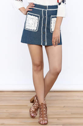 Endless Rose Button Down Denim Skirt