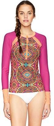 Body Glove Women's Sleek Long Sleeve Raglan Zip Front Rashguard with UPF 50+