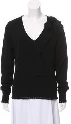 Oscar de la Renta Virgin Wool V-neck Sweater
