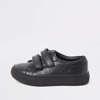 f3e343c1 River Island Mens Mini boys Black RI monogram velcro plimsolls