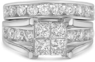 14K White Gold 4ct TDW Princess and Round Diamond Composite Engagement Ring Size 7