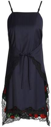 Alexander Wang Tie-front Lace-trimmed Pinstriped Wool-twill Dress