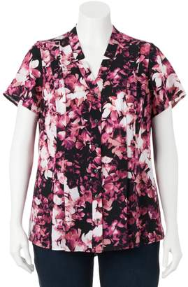 Croft & Barrow Plus Size Floral Pleated Blouse