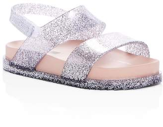 Mini Melissa Girls' Mini Cosmic Glitter Slingback Pool Slide Sandals