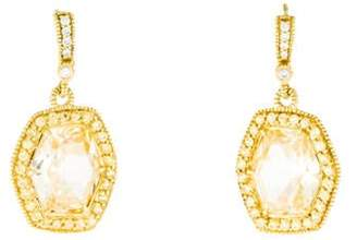 Judith Ripka 18K Diamond, Sapphire & Crystal Drop Earrings yellow 18K Diamond, Sapphire & Crystal Drop Earrings