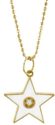 Andrea Fohrman White French Enamel Star Necklace - Yellow Gold