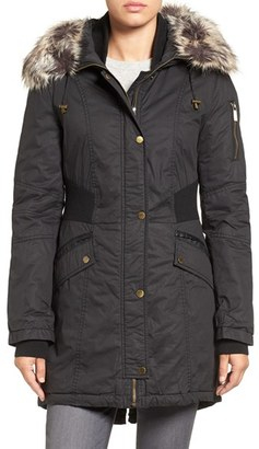 Women's French Connection Mixed Media Parka With Faux Fur Trim Hood $240 thestylecure.com