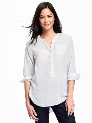 Split-Neck Gauze Popover for Women $26.94 thestylecure.com