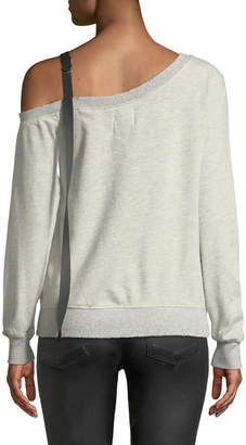 Pam & Gela D-Ring-Strap One-Shoulder Sweatshirt