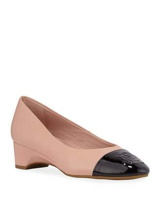 Taryn Rose Babe Patent Leather Rose Capped Ballet Pumps