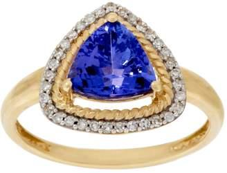 Trillion Cut Tanzanite & Diamond Ring 14K, 1.60cts