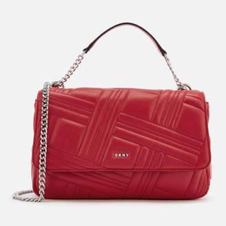DKNY Women's Allen Large Flap Quilt Shoulder Bag - Rouge