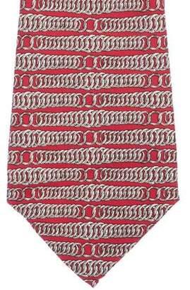 Hermes Chain Link Print Silk Tie