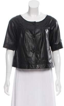 Theory Short Sleeve Leather Jacket