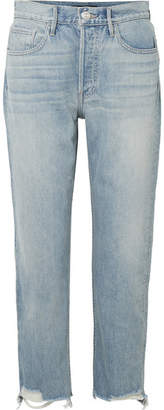3x1 W3 Higher Ground Cropped Frayed High-rise Straight-leg Jeans - Light denim