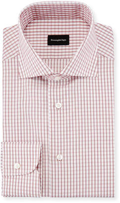 Ermenegildo Zegna Graph Check Dress Shirt, Red/White